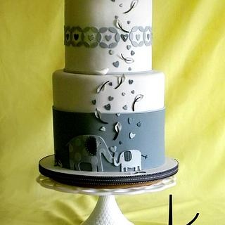Elephant Themed Baby Shower Cake in Shades of Gray
