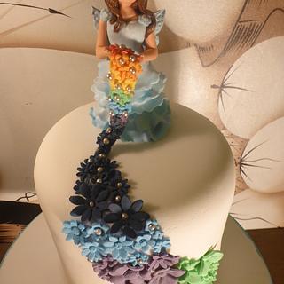 Rainbow fairy cake