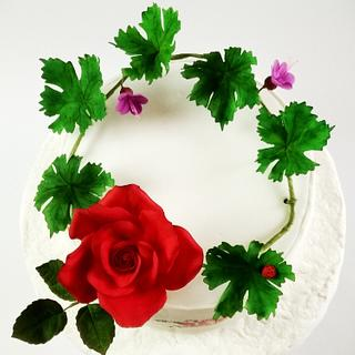 Cake with painted Bulgarian embroidery