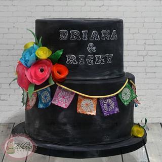 Chalkboard fiesta cake