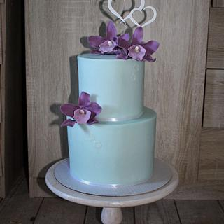 Mint and purple wedding - Cake by Cakes by Evička