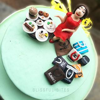 Foodie & shopaholic cake