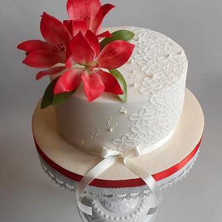 Amaryllis cake - Cake by Jitkap