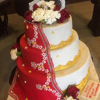 The Traditional Drape - Cake by PoojasDesignerCakes