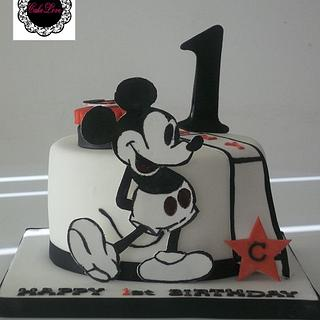 vintage mickey mouse 1st b'day cake