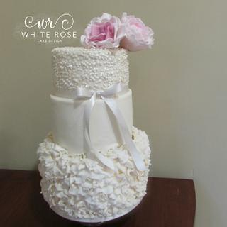 Three Tier Ruffles and Sequins Wedding Cake