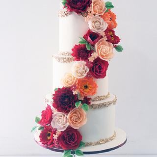 Cascading Sugar Flowers Wedding Cake