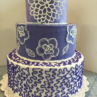 Royal Icing Purple Cake with Applique, Brush Embroidery and Cornelli Lace
