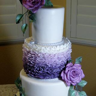 Purple Ombre frills with purple roses - Cake by sking