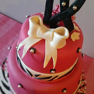 Pink and zebra cake
