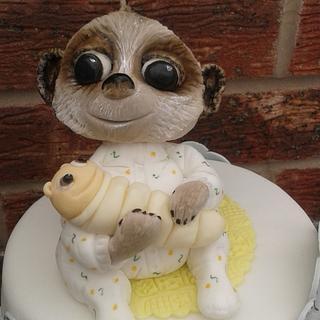 Baby Oleg and elephants baby shower cake