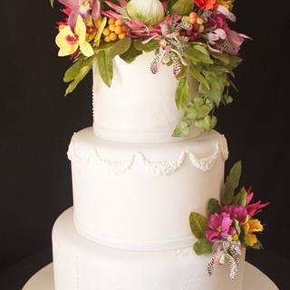 Wedding Cake and exotic sugar flowers