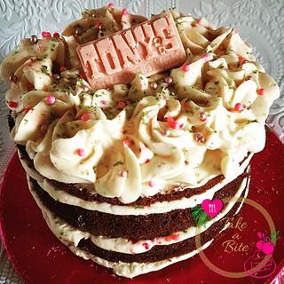 Pink Velvet & Tony's Chocolonely White Raspberry Pop Candy - Cake by Take a Bite