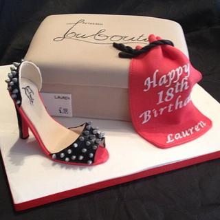 Louboutin Shoe and shoe box cake - Cake by Emma's Cakes - Cakes for all occasions