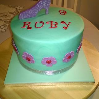 Girl's Birthday Cake and Shoe Topper