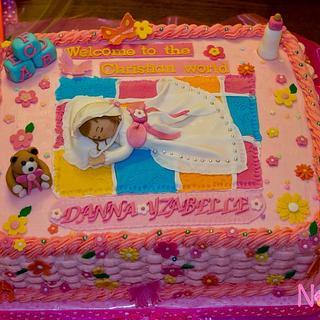 Basket Weave Baptismal Cake