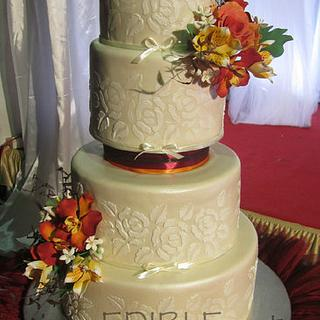Tropical Sunset-4 Tier wedding Cake