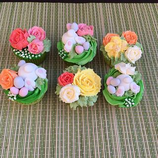 'Easter bunny in the flower garden' cupcakes