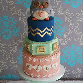 Parisian winter inspired theme owl 1st birthday cake