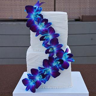 Buttercream Ruched Orchid Cake