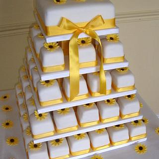 Sunflower miniature wedding cake tower