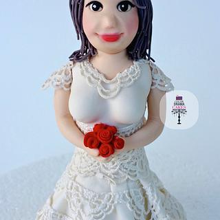 Cute bride, Cake topper. Cake Figurine.
