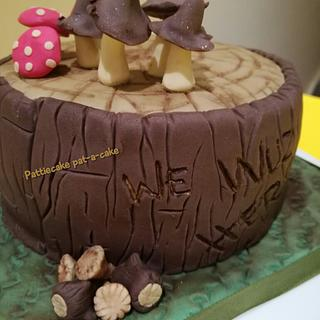 Mushrooms, toadstools, woods and log cake - Cake by Pattiecake