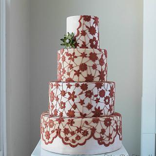 lace dress cake