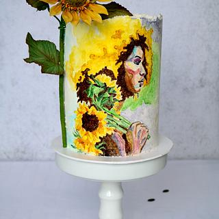 Woman with sunflowers - Cake by tomima
