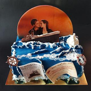 Titanic theme on a chocolate cake