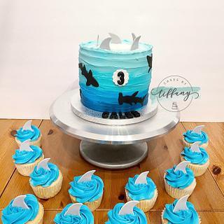 Shark cake & cupcakes  - Cake by Tiffany Crawford