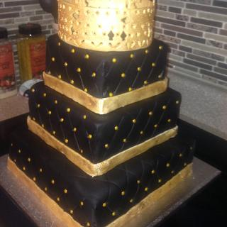 3 Tier 18th Birthday party.  Handmade crown. - Cake by Msmaddiecake