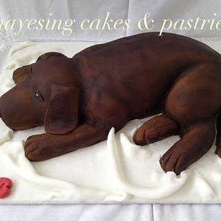 Airbrushed chocolate Labrador cake