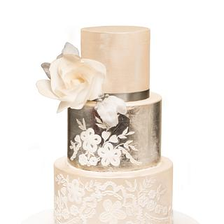 Silver Leaf & Embroidery Wedding Cake - Cake by Olivia's Bakery