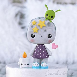 Moon Cake Topper - Cake by Crumb Avenue