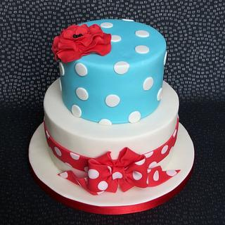 Red and Turquoise Spotty Cake