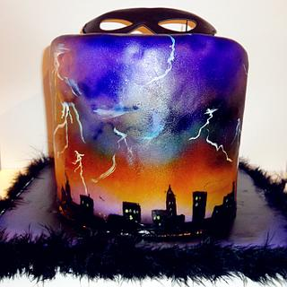 cityscape with lightning - Cake by Kayotic Konfections