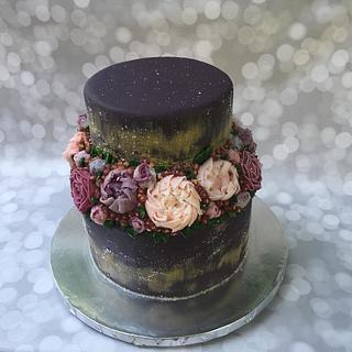 Purple Flower Buttercream Cake