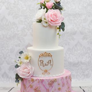 Wedding cake with sugar flowers - Cake by Torty Katulienka