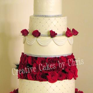 5 tier Bling and Roses Wedding Cake