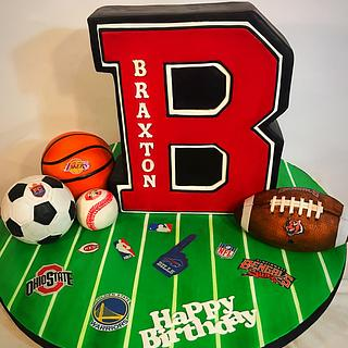Sports theme Letterman cake first Birthday