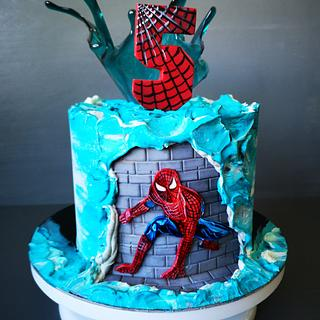 Spiderman cake with wave