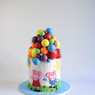 Peppa pig and George pig cake  - Cake by Cakes for mates