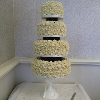 White Chocolate Roses Wedding Cake