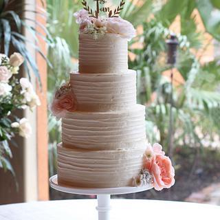 Rustic Blush Pink Wedding Cake