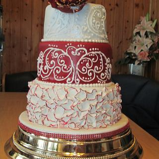 Maroon red wedding cake