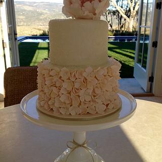 Blush Peony & Hydrangea Birthday Cake