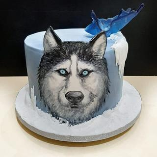 Handpainted birthday cake