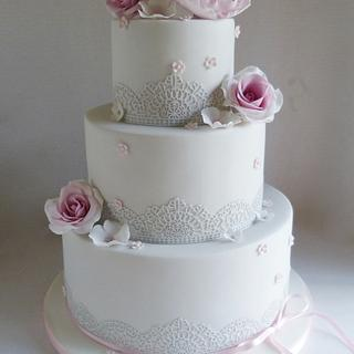 Pale grey with pink peony and roses