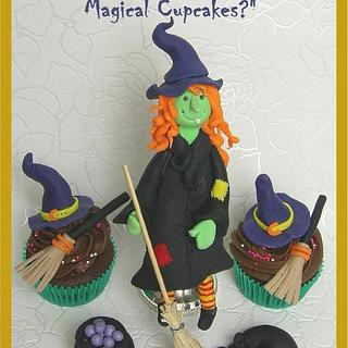 Witch Cake Topper with cupcakes - fondant